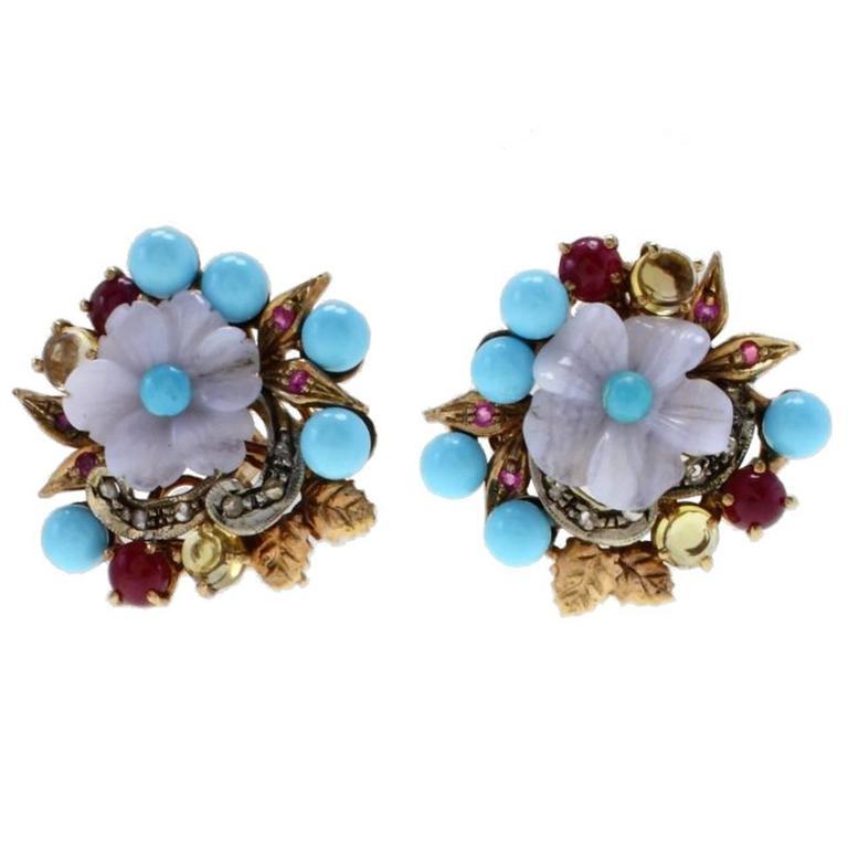 Stones Flower  Gold Earrings