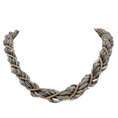 Diamond Choker  Gold and Silver Necklace