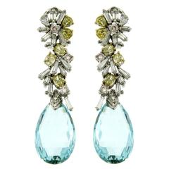 8 Carat Aquamarine Fancy Diamonds Gold Earrings
