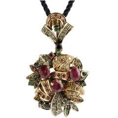 Multi Stones Gold and Silver  Pendant