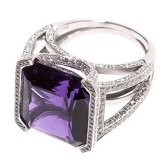 Cipullo Amethyst Diamond Platinum Ring