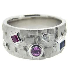 Contemporary Multistone Ruby Sapphire Diamond White Gold Ring