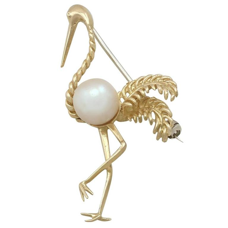 1950s Cultured Pearl Yellow Gold 'Flamingo' Brooch