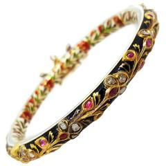 Mughal Gold, Diamond, Ruby and Enamel Bangle