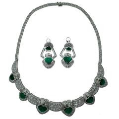 Heart Shaped Colombian Emerald and Diamond Necklace and Earring Two-Piece Set