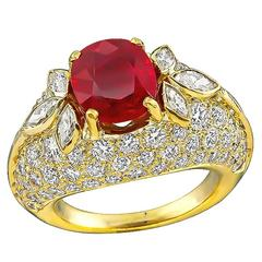 2.11 Carat Ruby Diamond Cluster Ring