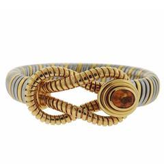 1980s Cartier Tubogas Gold Steel Citrine Bracelet