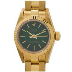 Rolex Ladies Yellow Gold Oyster Perpetual Green Dial Wristwatch circa 1990