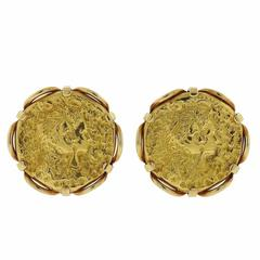 Rare Salvador Dali Gold Medal Earrings