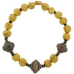 Lotus Art de Vivre Hindu Prayer Bead Gold Diamond Onyx Necklace
