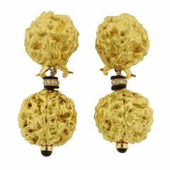 Lotus Arts de Vivre Gold Diamond Onyx Drop Earrings