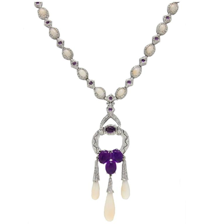 Amethyst Coral Diamond Gold Necklace