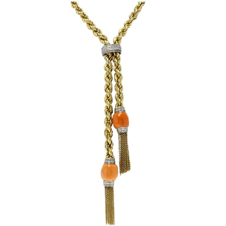 Diamond Coral Gold Necklace