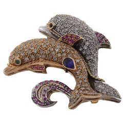 KT 1,25 Ruby Sapphire KT 3,60 Diamond Gold and Silver Dolphins Brooch Pendant