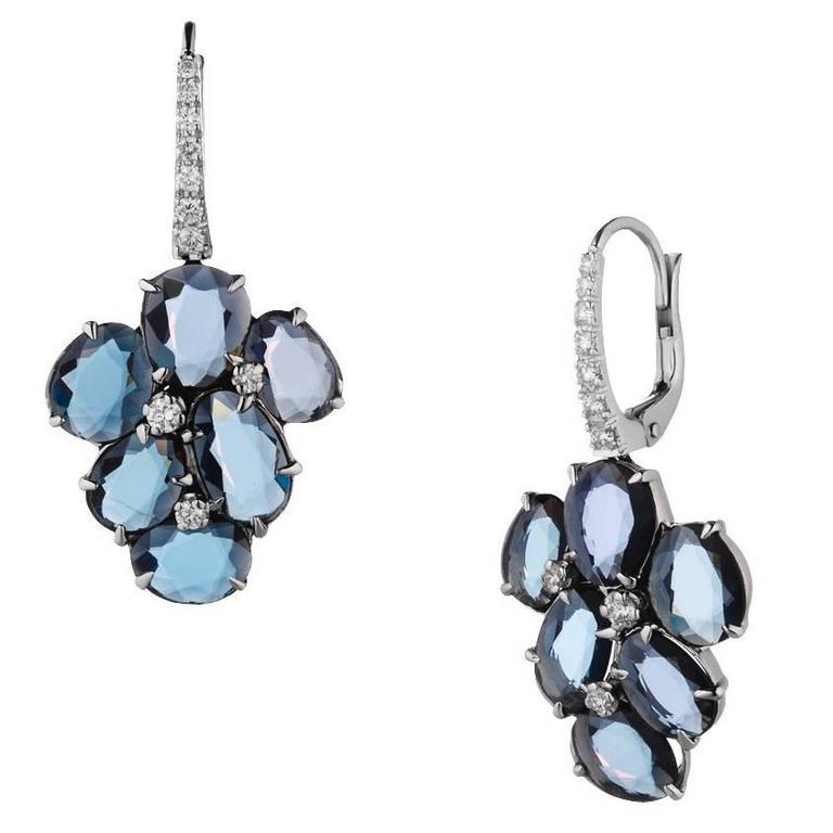 Renesim Spinel Diamond White Gold Drop Earrings