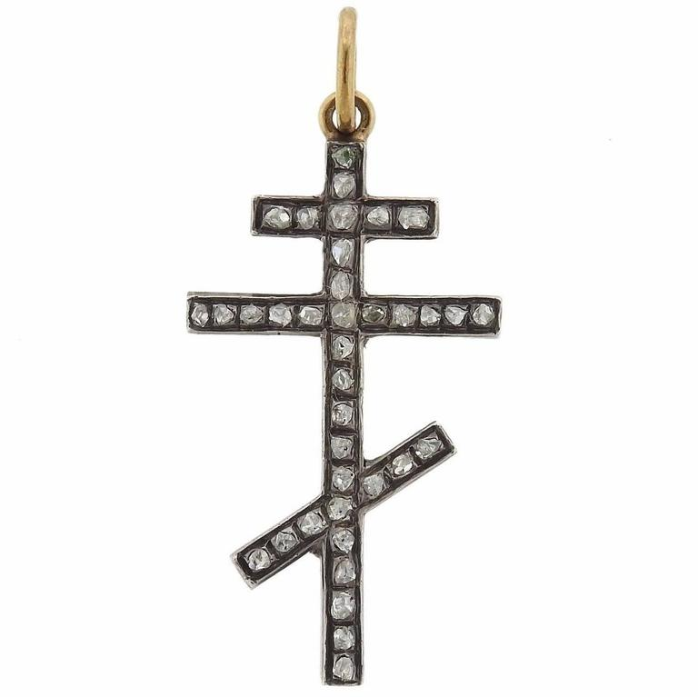 Antique gold silver rose cut diamond orthodox cross pendant at 1stdibs antique gold silver rose cut diamond orthodox cross pendant for sale aloadofball Image collections