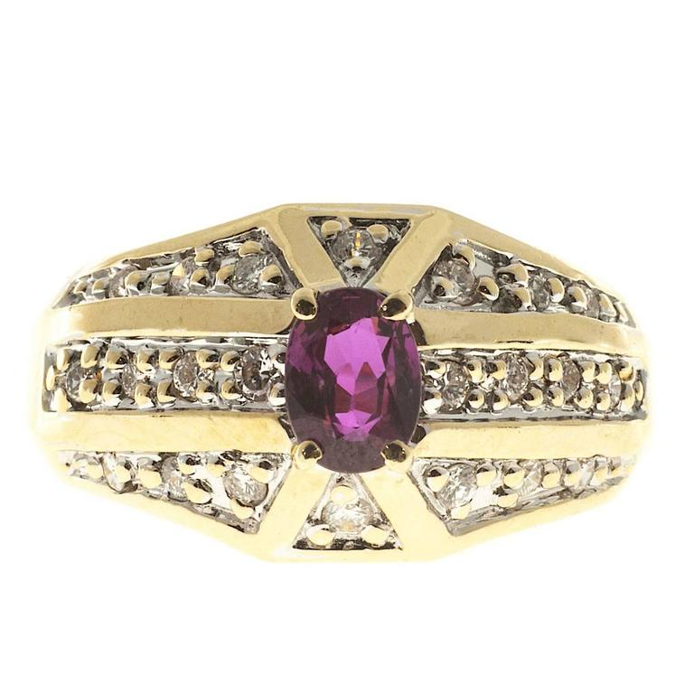 Oval Pink Red Ruby Diamond Bead Set Gold Cocktail Ring For Sale