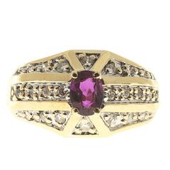 Oval Pink Red Ruby Diamond Bead Set Gold Cocktail Ring