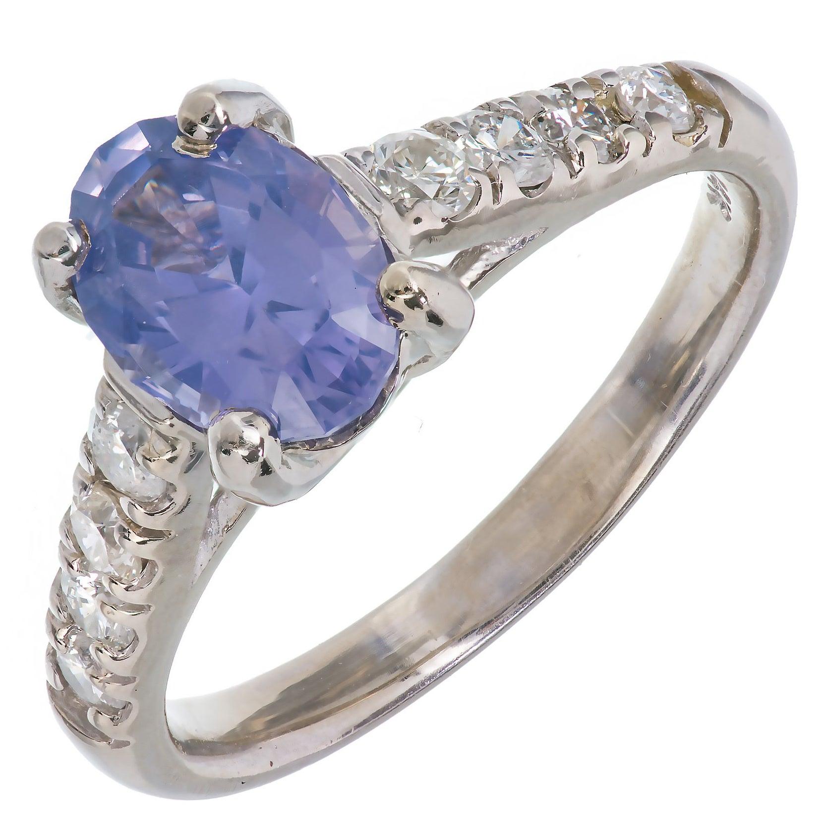 Peter Suchy 1.60 Carat Blue Violet Sapphire Diamond Platinum Engagement Ring