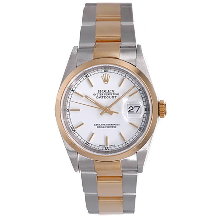 Rolex Stainless Steel Yellow Gold Datejust Jubilee Bracelet Automatic Wristwatch