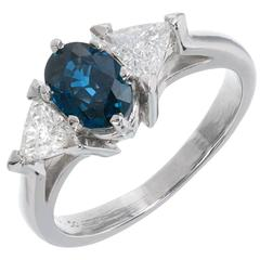 1.10 Carat Oval Cornflower Blue Sapphire Diamond Platinum Engagement Ring