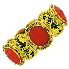 Art Deco Chinoiserie Carnelian Gold Bracelet