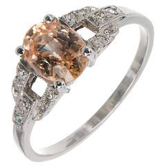 Natural Light Yellow Orange Sapphire Diamond Platinum Engagement Ring