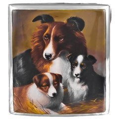 Antique Sterling Silver and Enamel Collie Case