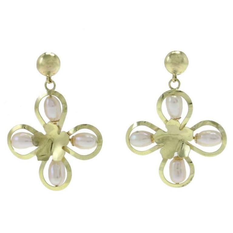 Luise Pearl Yellow Gold Flower Earrings