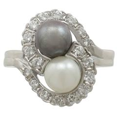 Cultured Pearl Diamond White Gold Ring