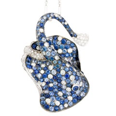 Jewelry Ray Fish White Diamond Blue Sapphire 18kt Gold Brooch Pendant/Necklace