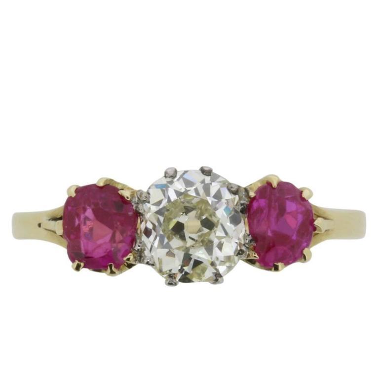 Victorian Old Cut Diamond Ruby Three Stone Ring circa 1880s