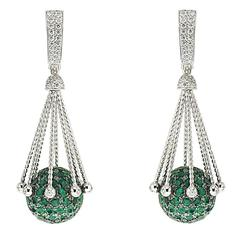 Diamond Pave Ball Dangling Earrings with Emeralds