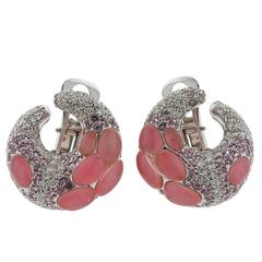 Porrati Gold Diamond Pink Sapphire Gemstone Earrings