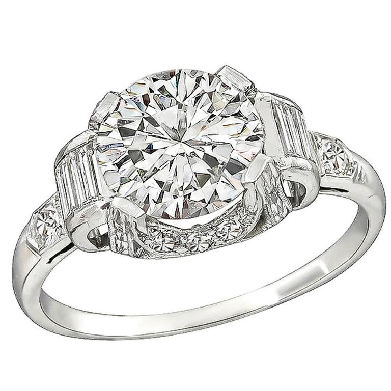Art Deco 2.01 Carat Diamond Engagement Ring