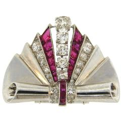 1930s Van Cleef & Arpels Diamond Ruby Platinum Clip Pin Brooch VCA