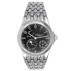 Patek Philippe Stainless Steel Power Reserve Automatic Moonphase Wristwatch