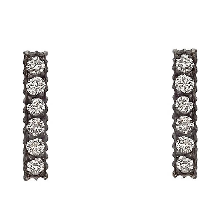 Yossi Harari ​Diamond Silver Gold Lilah Stick Stud Earrings 1