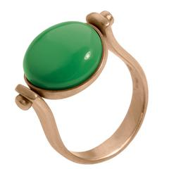 Roman Style Green Turquoise Pink 18Kt Gold Reversible Ring