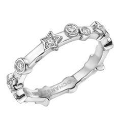 Chanel Diamond Platinum Star Band Ring