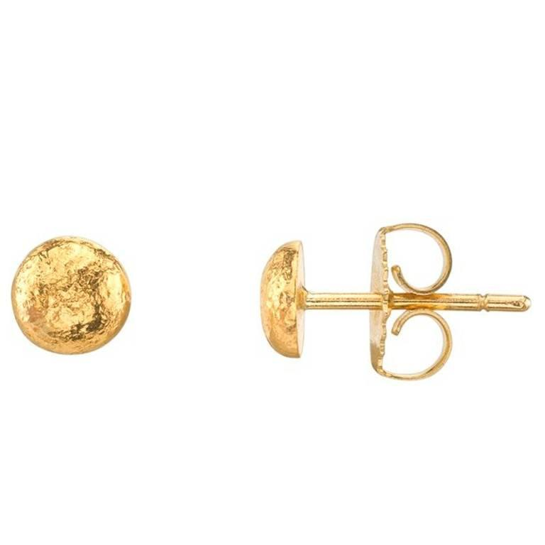 Yellow Gold Hammered Stud Earrings For