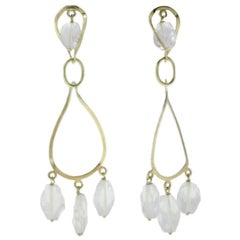 Stones Yellow Gold Dangle Earrings