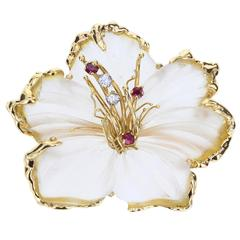 Rock Crystal Ruby Diamond Gold Flower Brooch