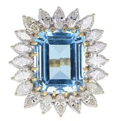 Aquamarine Marquise Cut Diamond Gold Cluster Ring