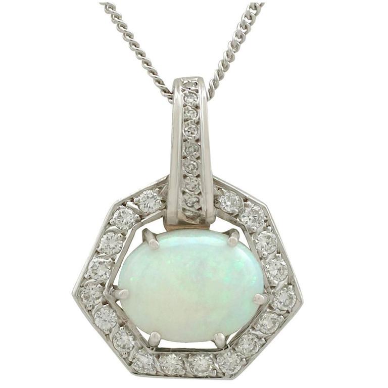 1960s 1.65 Carat Opal Diamond White Gold Pendant