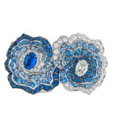 Vanleles Diamond Sapphire Gold Palladium Enchanted Garden Double Cocktail Ring
