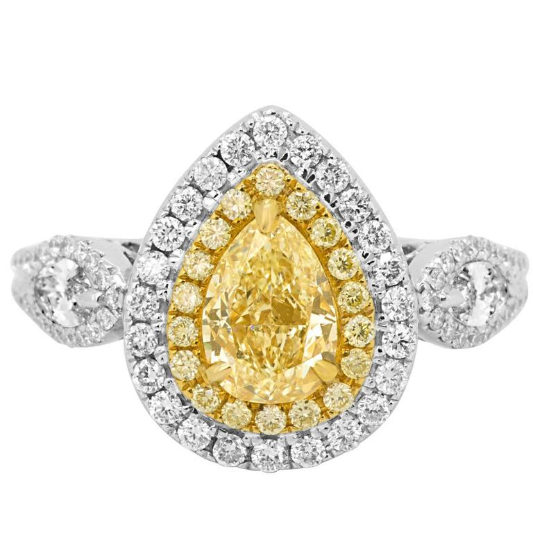 Certified 1.29 Fancy Yellow Diamond Double Halo Two Color Gold Ring