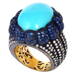 Turquoise Sapphire Diamond Gold Cocktail Ring