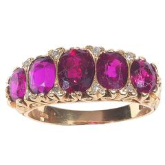 1890s Victorian Five Stone Ruby Gold Ring