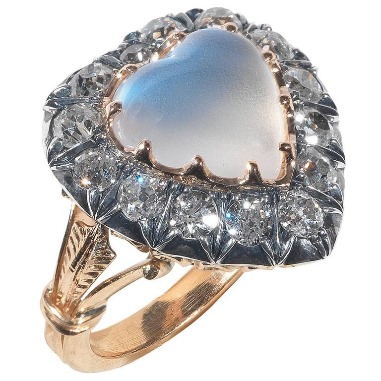 1880s Victorian Moonstone Diamond Gold Heart Ring